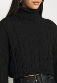 New Look - ROLL NECK WIDE SLEEVE CABLE - Svetr - black - 4