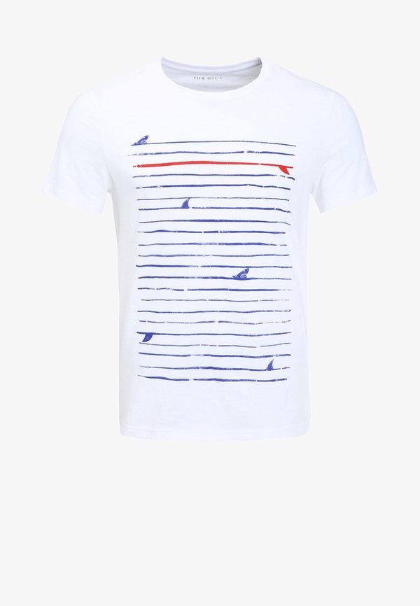 Pier One T-shirt z nadrukiem - white/biały Odzież Męska TKFN