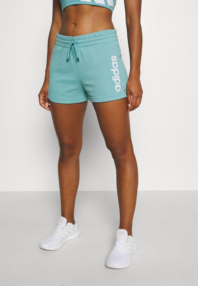 adidas Performance - ESSENTIALS SLIM LOGO SHORTS - Pantalón corto de deporte - mint ton/white