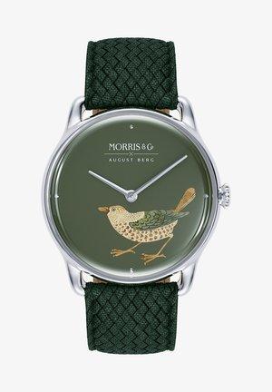 UHR MORRIS & CO SILVER BIRD GREEN PERLON 38MM - Ure - green
