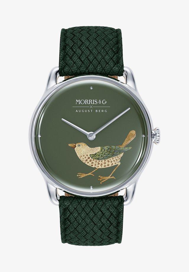 UHR MORRIS & CO SILVER BIRD GREEN PERLON 38MM - Horloge - green