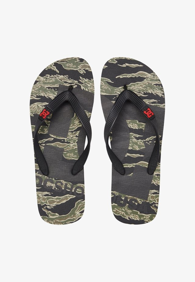 SPRAY GRAFFIK - T-bar sandals - black/green/black