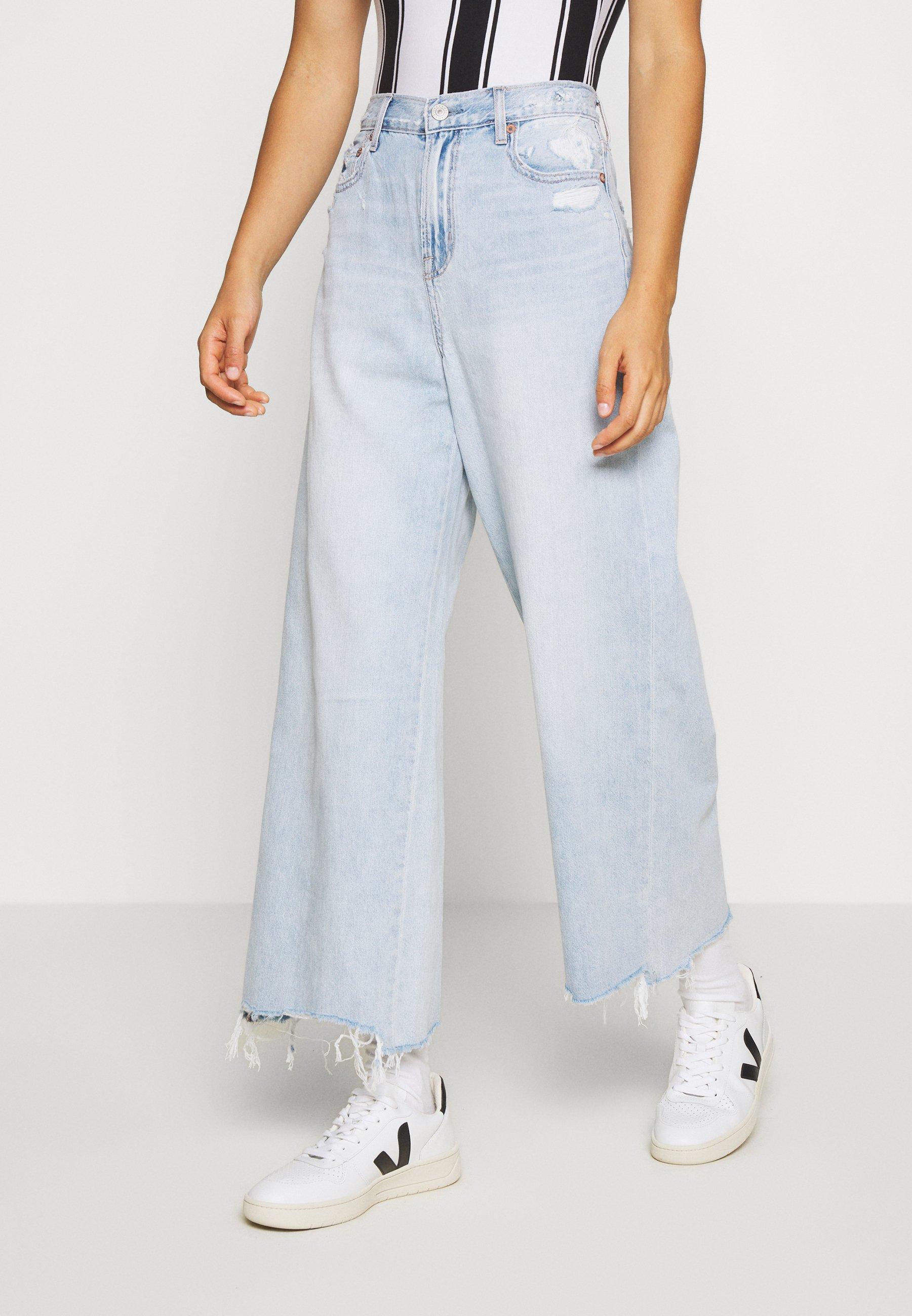 American Eagle SUPER HIGH RISE WIDE LEG CROP - Jean boyfriend - emotional blue - Jeans Femme nMND3