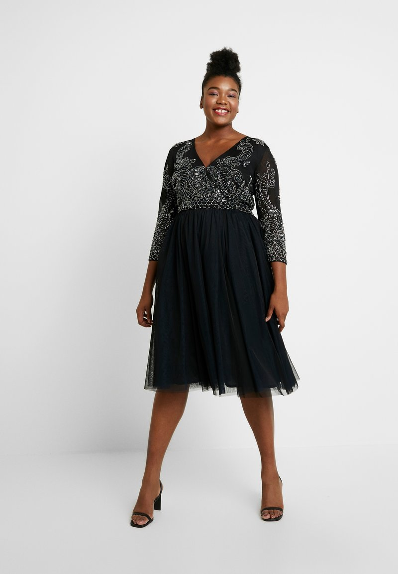 Lace & Beads Curvy - BONITA MIDI - Occasion wear - black