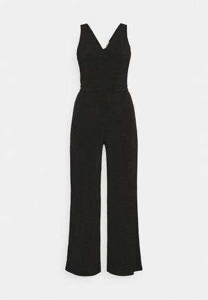 Punto wide leg deep v sleeveless Occasion jumpsuit - Jumpsuit - black