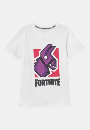 NKMFORTNITE - T-shirt con stampa - white/light pink