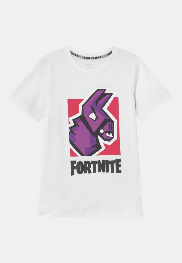 NKMFORTNITE - Camiseta estampada - white/light pink