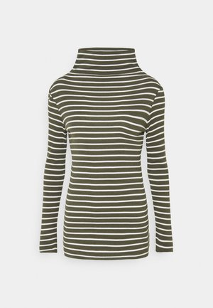 LONGSLEEVE TURTLENECK STRIPED - Long sleeved top - olive/white