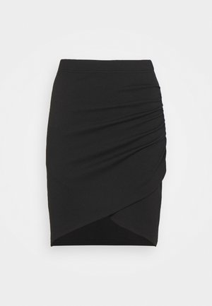 Asymetric overlap wrap mini high waisted skirt - Pencil skirt - black