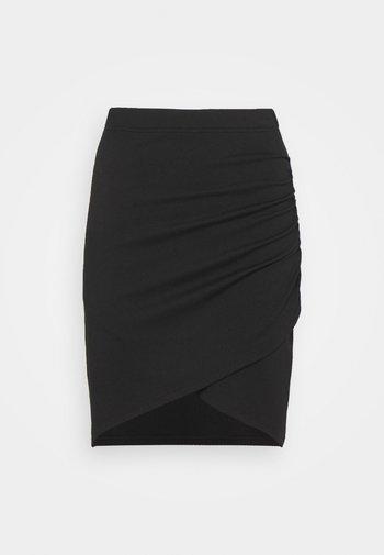 Asymetric overlap wrap mini high waisted skirt - Pouzdrová sukně - black