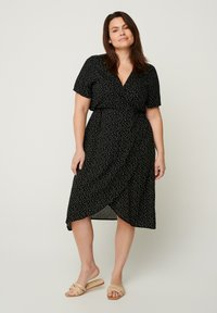 Zizzi - SHORT-SLEEVED WRAP - Day dress - black - 1