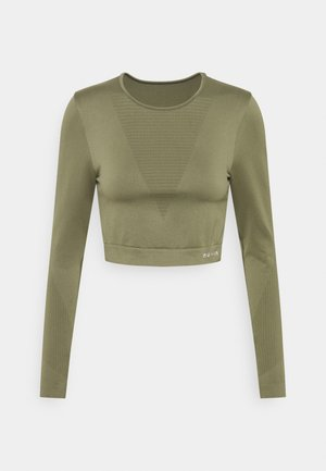 SEAMLESS LONG SLEEVE CROPPED - Top s dlouhým rukávem - green