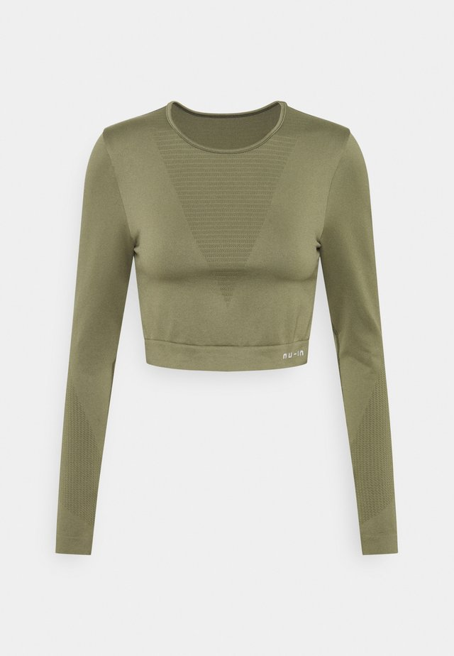 SEAMLESS LONG SLEEVE CROPPED - Long sleeved top - green