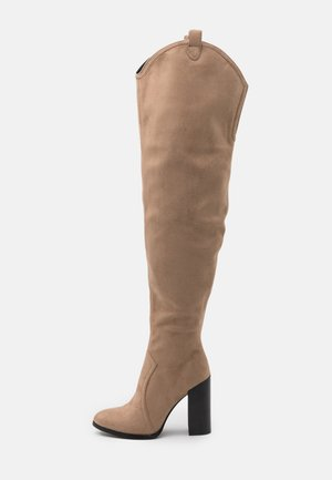 High heeled boots - beige