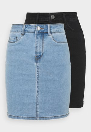VMHOT SEVEN SKIRT 2 PACK - Mini skirt - light blue denim/black