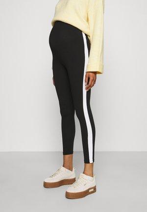 MATERNITY BASIC STRIPE - Leggings - Trousers - black