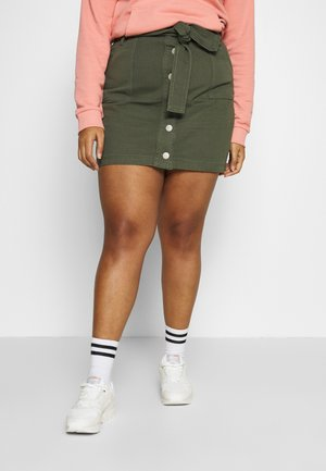 BLETED BUTTON DOWN SKIRT - Mini skirt - khaki