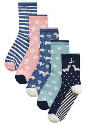DOG HEART ANKLE SOCKS 5 PACK - Socks - blue