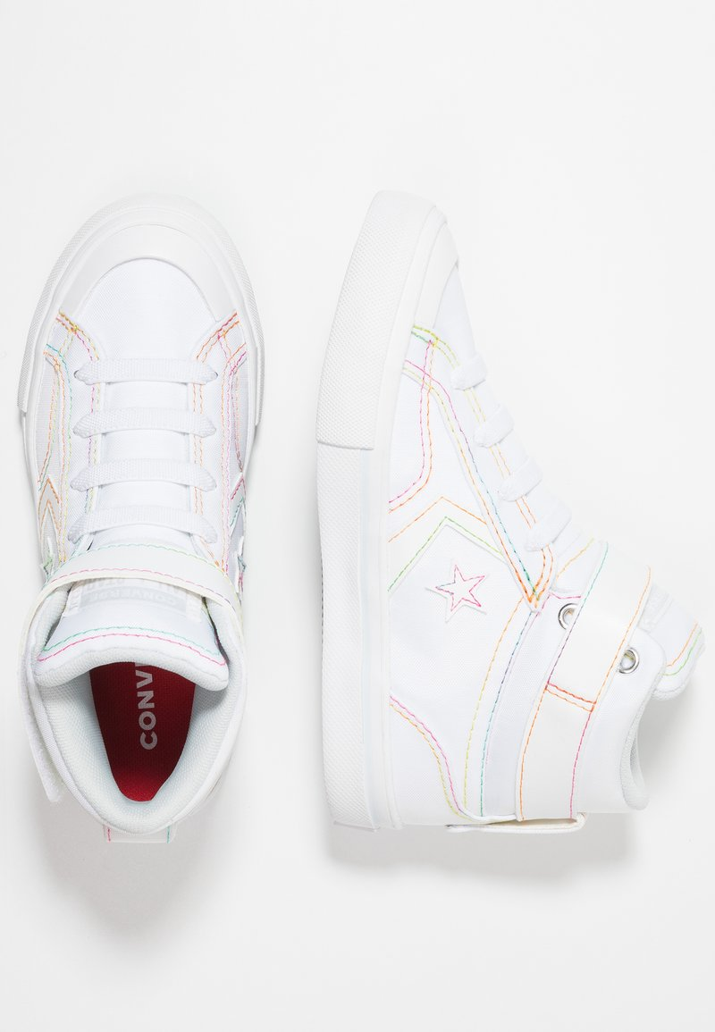 Converse - PRO BLAZE STRAP RAINBOW STITCH - High-top trainers - white/enamel red/rainbow