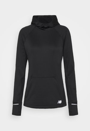 HEAT GRID HOODIE - Long sleeved top - black