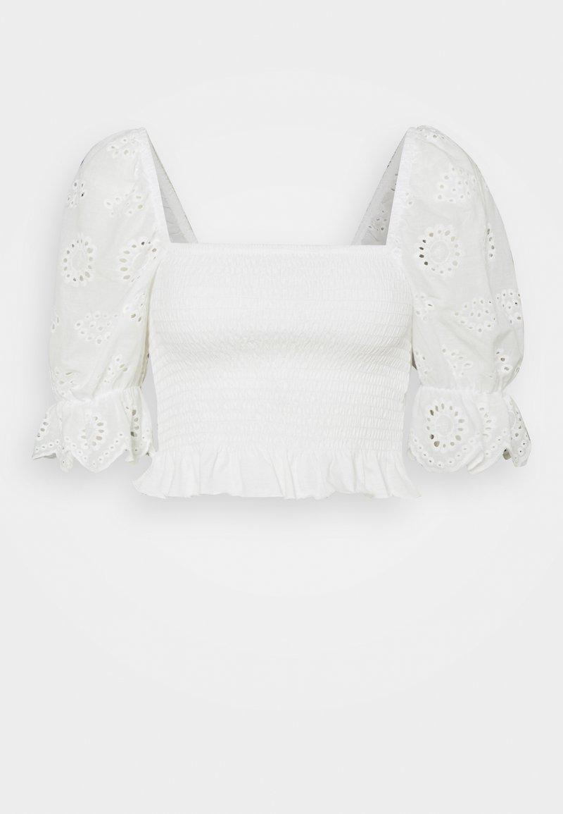 Vero Moda Petite - VMHEATHER SMOCK MIX - Print T-shirt - snow white