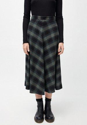 AAUNE WINTER CHECK - A-line skirt - juniper green