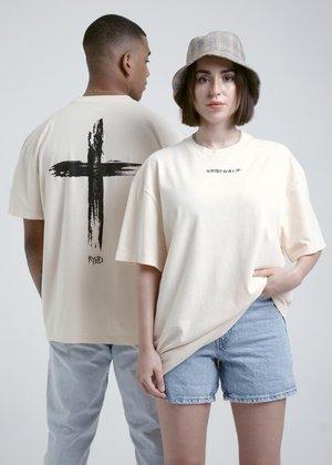 CROSS TEE - Print T-shirt - cream