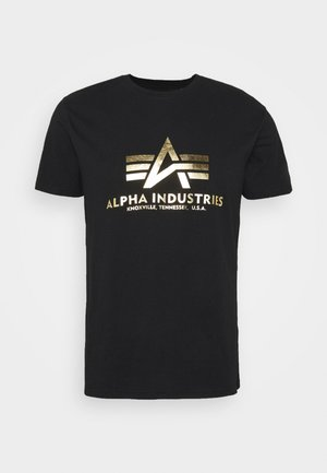 BASIC PRINT - Print T-shirt - black/yellow gold