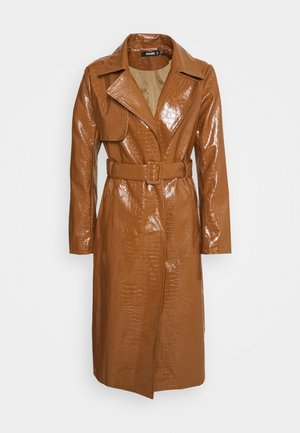 CROC BELTED MAXI - Trenchcoat - tan
