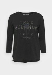 BOXY CREW NECK  PALM TREE BLACK - Top sdlouhým rukávem - black