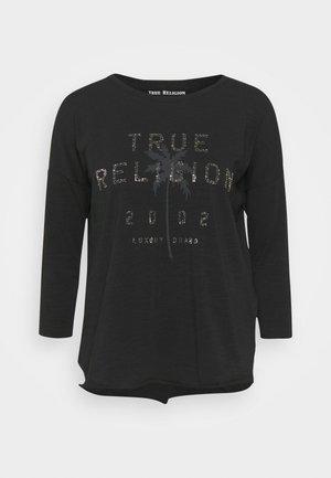 BOXY CREW NECK  PALM TREE BLACK - Long sleeved top - black