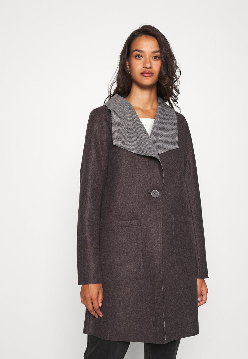 JDY - JDYSANNA DRAPY CARCOAT - Short coat - dark grey melange