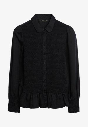 SHIRRED - Button-down blouse - black