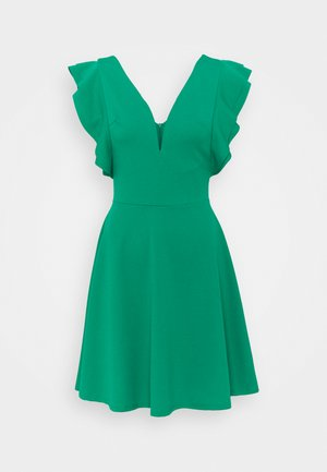 V NECK FRILL SLEEVE FIT FLARE DRESS - Trikoomekko - green