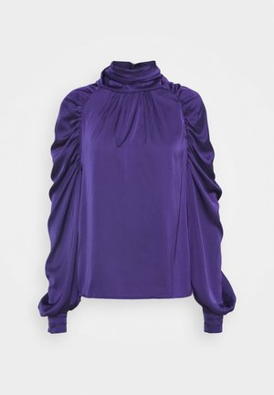 BLOUSE WITH LONG SLEEVES DRAPED NECKLINE  AND TIE DETAIL - Maglietta a manica lunga - purple