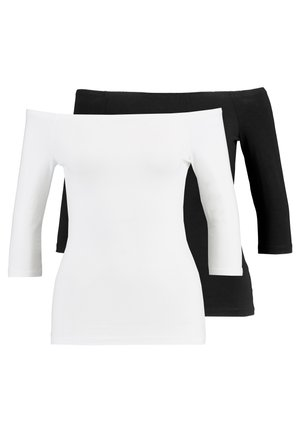 2 PACK - Topper langermet - white/black