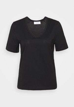 V NECK - Camiseta básica - black