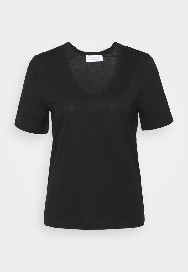 IVY & OAK V NECK - T-shirt basic - black Kolor jednolity Odzież Damska FNTG FN 6