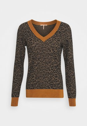 V-NECK KNIT WITH PATTERN - Trui - brown