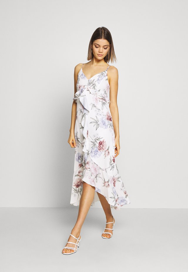 BIG BLOOM FRILL MIDI DRESS - Vestido informal - ivory