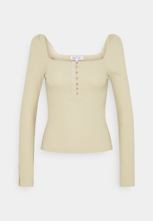 RIBBED SPLIT SLEEVE  - Long sleeved top - beige