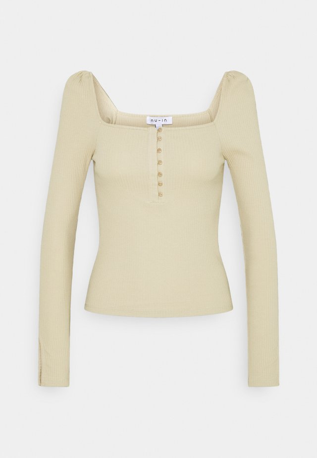 RIBBED SPLIT SLEEVE  - Langærmede T-shirts - beige