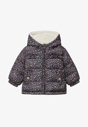 GEWATTEER MET IMITATIEBONT - Winter coat - donkermarine