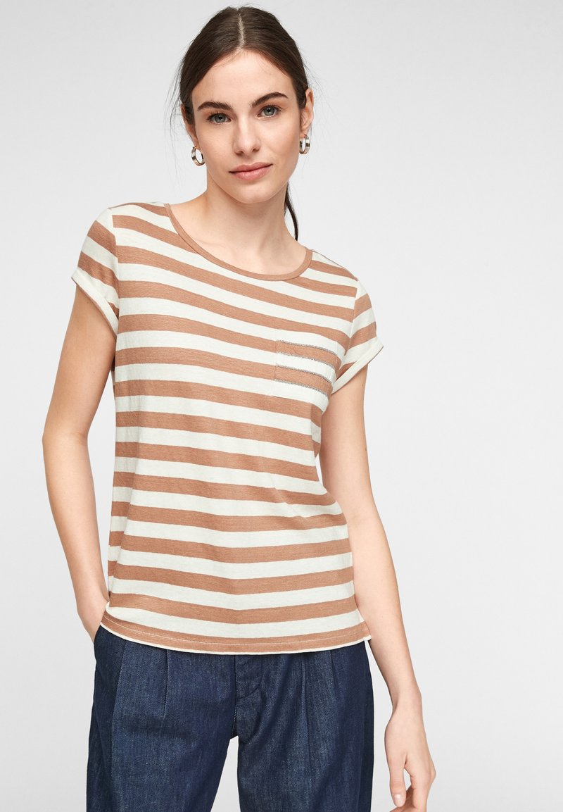 comma casual identity - MIT SCHMUCK-DETAIL - Print T-shirt - caramel stripes