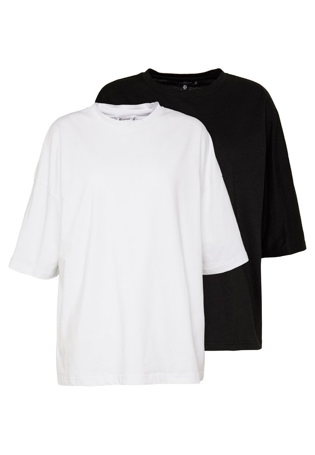 DROP SHOULDER OVERSIZED 2 PACK - Basic T-shirt - white/black