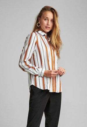 Button-down blouse - leather brown