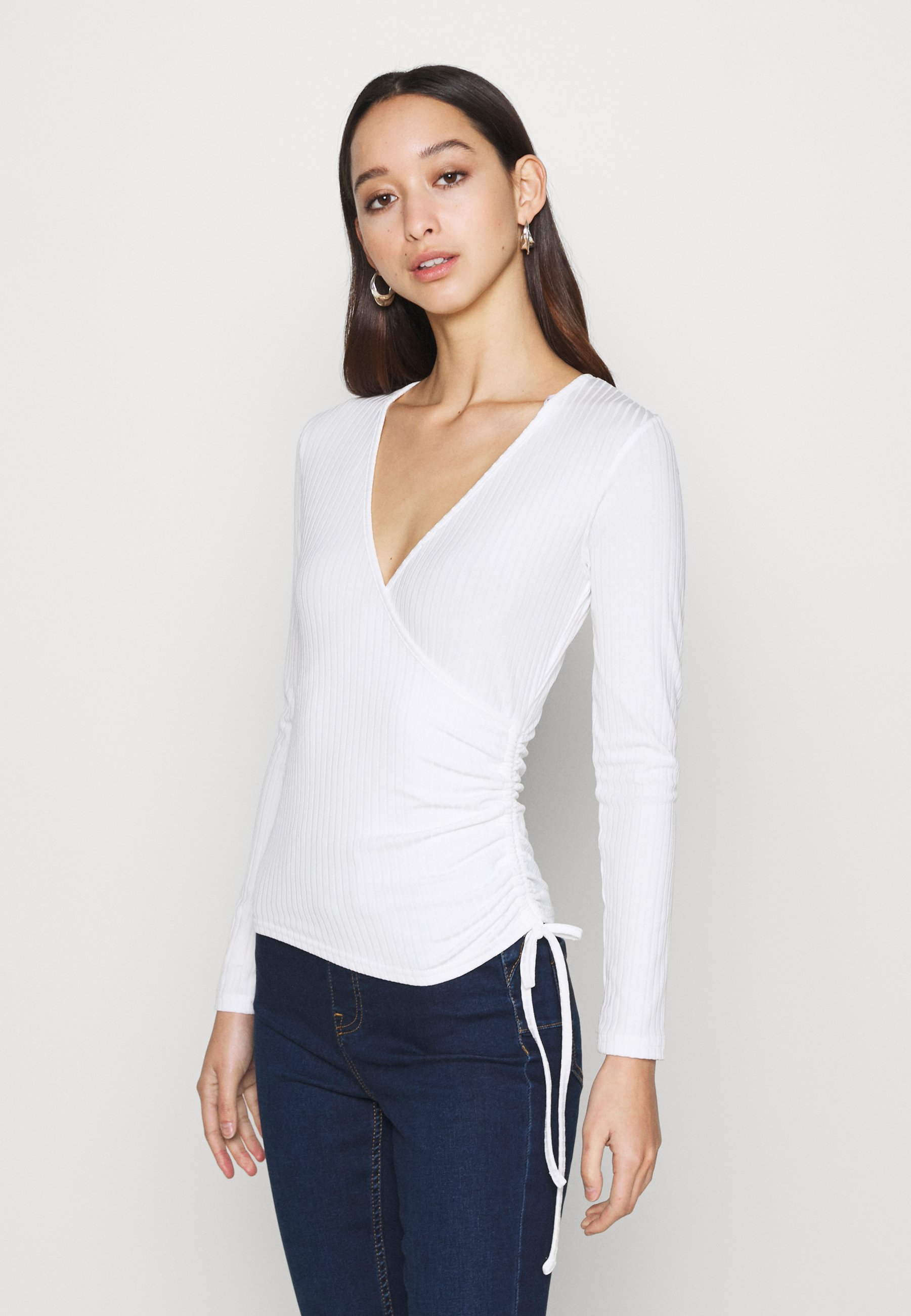 Women CARLY WRAP RUCHED SIDE - Long sleeved top