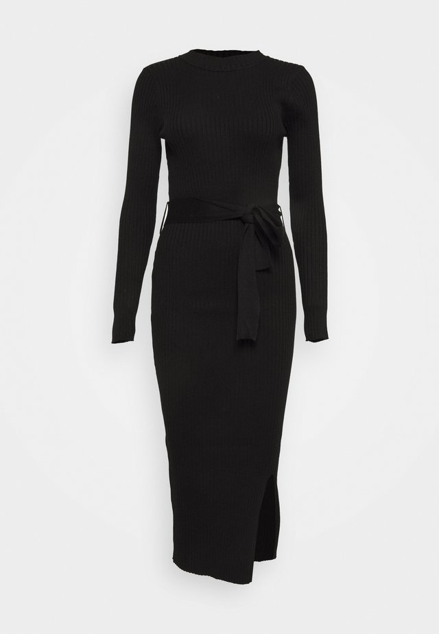 TIE WAIST MIDI DRESS - Robe fourreau - black