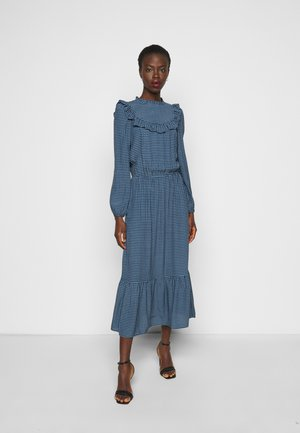 CHECK GINGHAM FRILL DRESS - Day dress - blue