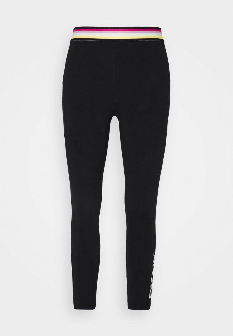 DKNY - MULTI STRIPE ELASTIC HIGH WAIST 7/8 LEGGING - Leggings - black